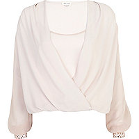 Pink embellished cropped wrap blouse