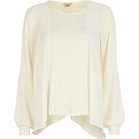 Cream lace insert petal-back blouse