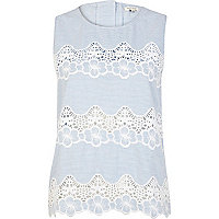 Blue stripe lace insert shell top