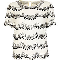 Cream scallop embellished top