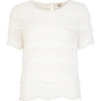 White scallop embellished top