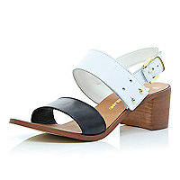 Black and white block heel sandals