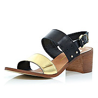Black and gold tone block heel sandals