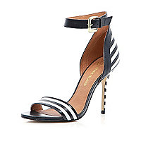 Black and white stripe barely there sandals