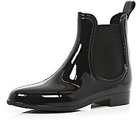 Black high shine chelsea boot wellies