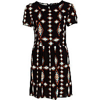 Black tribal print Peter Pan collar dress
