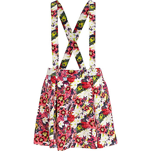 Pink floral pinafore skirt