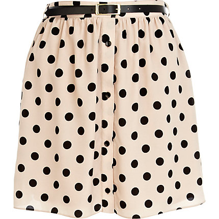 Beige polka dot button through mini skirt