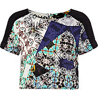 Blue kaleidoscope print crop top