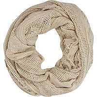 Cream mesh panel lightweight snood