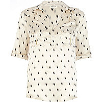 Cream printed utility shirt