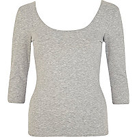 Grey marl scoop neck backless ballerina top