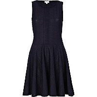 Navy textured sleeveless skater dress