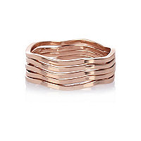 Rose gold plated stacking ring set