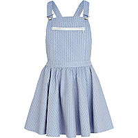 Blue tile jacquard pinafore dress