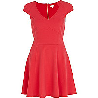 Coral cap sleeve panelled skater dress