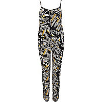 Black tribal print cami jumpsuit