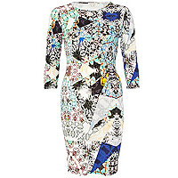 Blue abstract print 3/4 sleeve bodycon dress