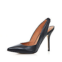 Black pointed sling back court shoes