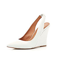 White pointed sling back wedges