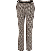 Black mini tile print smart trousers