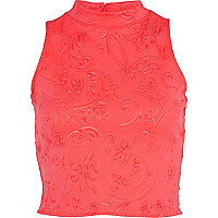 Coral embossed pattern turtle neck crop top