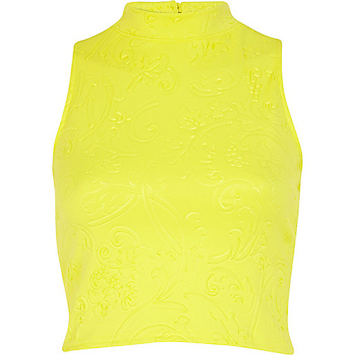 Yellow embossed pattern turtle neck crop top