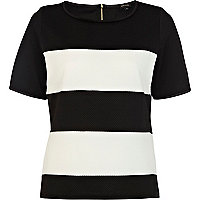 Black and white stripe textured top