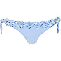 Light blue 3D flower tie side bikini bottoms