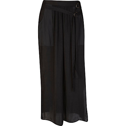 Black sheer utility maxi skirt