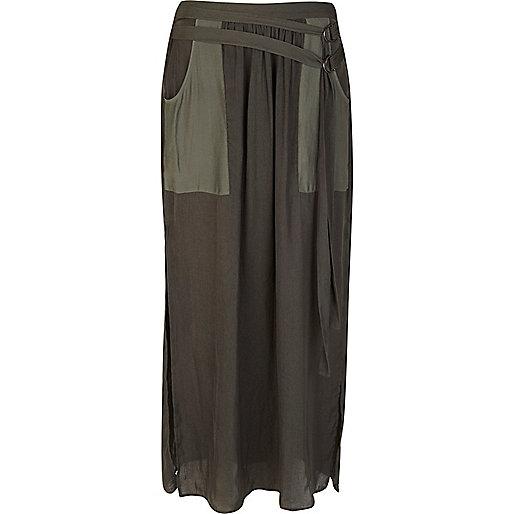 Khaki sheer utility maxi skirt