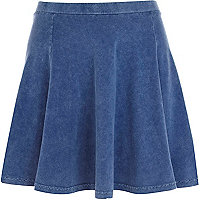 Blue denim-look skater skirt