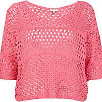 Pink mixed stitch crop jumper