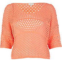 Orange mixed stitch crop jumper