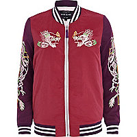 Red embroidered bomber jacket