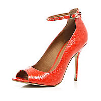 Red snake ankle strap peep toe stilettos