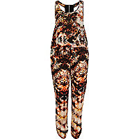 Orange abstract print racer back jumpsuit