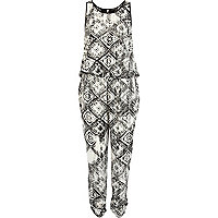 Black and white tribal print waisted jumpsuit