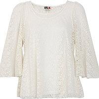 White lace Chelsea Girl angel sleeve top