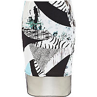 White print block mesh insert pencil skirt