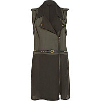 Khaki lightweight belted biker dress