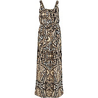 Black and beige printed dungaree maxi dress