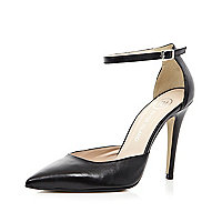 Black two-part pointed court shoes