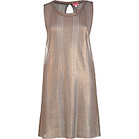 Bronze subtle stripe vest dress