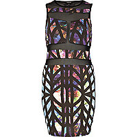 Purple print sheer panel bodycon dress