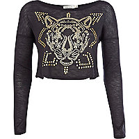 Grey tiger embellished crop top