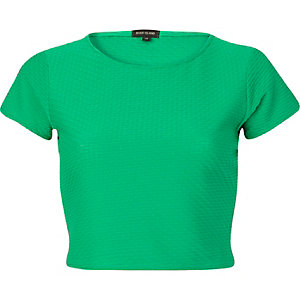 Green cap sleeve crop top