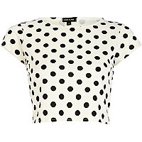 Cream polka dot textured cap sleeve crop top