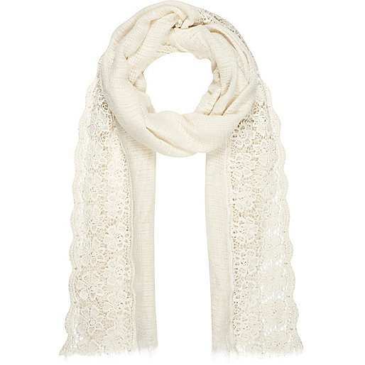 Cream crochet gauze long scarf