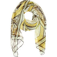 Cream tiger print sheer lightweight scarf